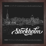 Calendar 2017 september, october with city sketching Stockholm, Sweden on chalkboard background. Vector illustration for your design Stock Photo