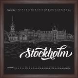 Calendar 2017 september, october with city sketching Stockholm, Sweden on chalkboard background. Vector illustration for your design stock illustration
