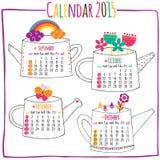 Calendar 2015-September, outubro, novembro, dezembro ilustração stock