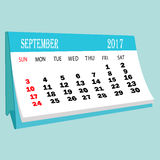 Calendar 2017 September page of a desktop calendar. 3D Rendering Royalty Free Stock Photography