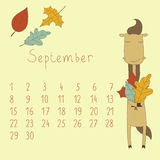 Calendar for September 2014. Calendar with the symbol of the eastern horoscope. Year of the Horse stock illustration
