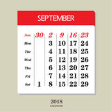 Calendar for September 2018. Template of calendar for September 2018 Royalty Free Stock Photos