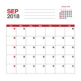 Calendar for September 2018. Template of calendar for September 2018 Stock Photo