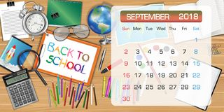 Calendar of SEPTEMBER 2018 theme back to school. A calendar of SEPTEMBER 2018 theme back to school Stock Images