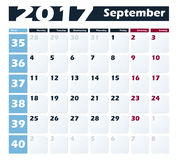 Calendar 2017 September vector design template. Week starts with Monday. European version Stock Photography