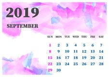 Calendar September; 2019 watercolor vector illustration. Layers. Grouped for easy editing illustration. For your design royalty free illustration