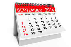 Calendar September 2014. 2014 year calendar. September calendar on a white background vector illustration