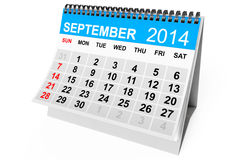 Calendar September 2014. 2014 year calendar. September calendar on a white background Stock Image