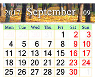 Calendar for September 2017 with yellow leaves Stock Photography