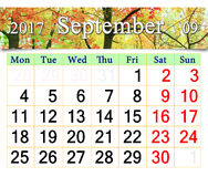 Calendar for September 2017 with yellow leaves Royalty Free Stock Photo