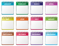 Calendar set. Monthly calendar icons different color and copy space Royalty Free Stock Photo