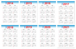 Calendar 2014-2021. A set of calendars on 2014-2021 variable on illustrator file Stock Photos