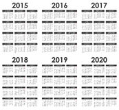 2015 - 2020 Calendar. 2015 - 2020 set of calendars on white background stock illustration
