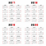 Calendar for 2017, 2018, 2019, 2020. Set of Calendars for 2017, 2018, 2019, 2020 Years on White Background. Week Starts Sunday stock illustration
