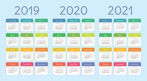 2019, 2020, 2021 calendar set. Color, pocket. Week starts on Sun. 2019, 2020 and 2021 calendar set. Color, pocket card. Week starts on Sunday. Vector colorful Royalty Free Stock Image