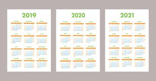 2019, 2020, 2021 calendar set. Color, pocket. Week starts on Sunday. 2019, 2020 and 2021 calendar set. Colorful, pocket card. Week starts on Sunday. Vector Royalty Free Stock Photo