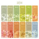 2014 Calendar Set. 2014 Decorative calendar set with vertical banners or cards. Week starts on Sunday royalty free illustration