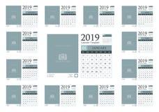 Calendar template design 2019 vector illustration