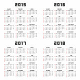 Calendar 2015 2016 2017 2018 Royalty Free Stock Photography