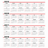 Calendar 2015, 2016, 2017, 2018. Set of english 2015, 2016, 2017, 2018 vector calendars. Week starts from Monday vector illustration