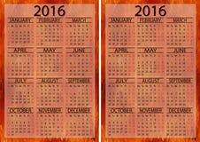 Calendar 2016 set Stock Photo