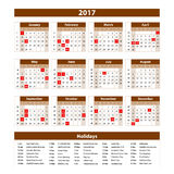 Calendar 2017 set 12 month on brown background vector illustration. Art Royalty Free Stock Photo