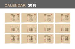 Calendar 2019 - Set of monthly calendar on brown paper. Royalty Free Illustration