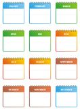 Calendar set. Monthly calendar icons. Vector clipart. Available corel file Stock Image