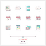 Calendar set. Thin line art icons. Flat style illustrations isolated on white Stock Photography