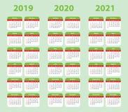 2019, 2020, 2021 calendar set. Pocket. Week starts on Sunday. 2019, 2020 and 2021 calendar set. Vector color, pocket template. Week starts on Sunday Stock Photo