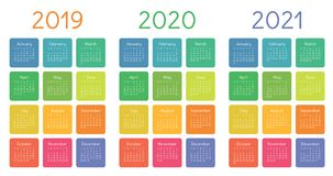 Calendar 2019, 2020 and 2021 set. Week starts on Sunday. Basic grid. Colorful vector template for graphic design stock illustration