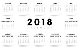 Calendar 2018 with shadow angles. Weeks start with Sunday. Vector illustration. Calendar 2018 with shadow angles. Weeks start with Sunday Stock Image