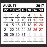 Calendar sheet August 2017. Saturday and Sunday the weekend of the red color, vector easy to edit Stock Photos