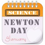 Newton Day - Science. Calendar sheet with a date by January 4. Newton`s Day - Science Stock Images