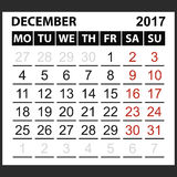 Calendar sheet December 2017. Saturday and Sunday the weekend of the red color, vector easy to edit Royalty Free Stock Image