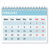 Calendar sheet for february Royalty Free Stock Image
