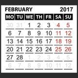 Calendar sheet February 2017 Royalty Free Stock Photo