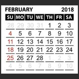 Calendar sheet February  2018. Simple style. Week starts from sunday of the red color, vector easy to edit Royalty Free Stock Images