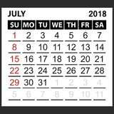 Calendar sheet July 2018. Simple style. Week starts from sunday of the red color, vector easy to edit Royalty Free Stock Images