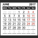 Calendar sheet June 2017 Stock Photography