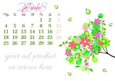 Calendar sheet for 2018 June with tree branch Stock Photo