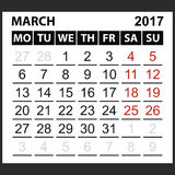 Calendar sheet March 2017 Stock Photos