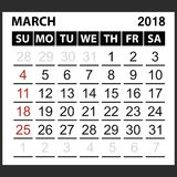 Calendar sheet March  2018. Simple style. Week starts from sunday of the red color, vector easy to edit Royalty Free Stock Image