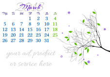 Calendar sheet for 2018 March with tree branch Stock Photos