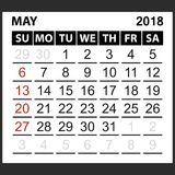 Calendar sheet May 2018. Simple style. Week starts from sunday of the red color, vector easy to edit Royalty Free Stock Image