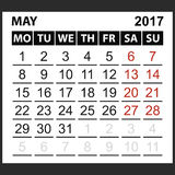 Calendar sheet May 2017. Saturday and Sunday the weekend of the red color, vector easy to edit Royalty Free Stock Photography