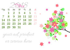 Calendar sheet for 2018 May with tree branch Royalty Free Stock Image