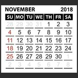 Calendar sheet November 2018. Simple style. Week starts from sunday of the red color, vector easy to edit Royalty Free Stock Images