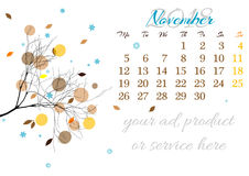 Calendar sheet for 2018 November with tree branch Royalty Free Stock Photography