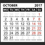 Calendar sheet October 2017. Calendar sheet October  2017, Saturday and Sunday the weekend of the red color, vector easy to edit Royalty Free Stock Images